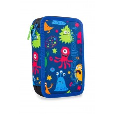 DOUBLE DECKER PENCIL CASE WITH EQUIPMENT COOLPACK JUMPER 2 FUNNY MONSTERS (A66206)