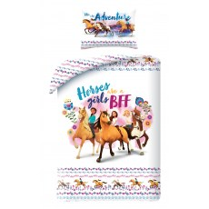 SINGLE DUVET SET 140 X 200 CM ANIMAL HORSES H-0092BL
