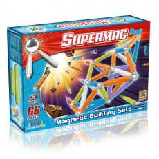 PLASTWOOD SUPERMAG MAXI NEON MAGNETIC BUILDING SETS 66 PIECES