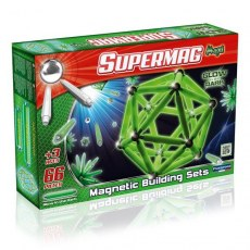 PLASTWOOD SUPERMAG MAXI GLOW MAGNETIC BUILDING SETS 66 PIECES
