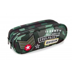 DOUBLE ZIPPERS PENCIL CASE COOLPACK CLEVER CAMO GREEN BADGES (A65110)