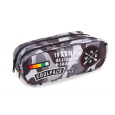 DOUBLE ZIPPERS PENCIL CASE COOLPACK CLEVER CAMO BLACK BADGES (A65111)