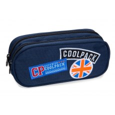 DOUBLE ZIPPERS PENCIL CASE COOLPACK CLEVER BADGES BLUE (B65053)