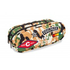 DOUBLE ZIPPERS PENCIL CASE COOLPACK CLEVER CAMO DESERT BADGES (A65109)