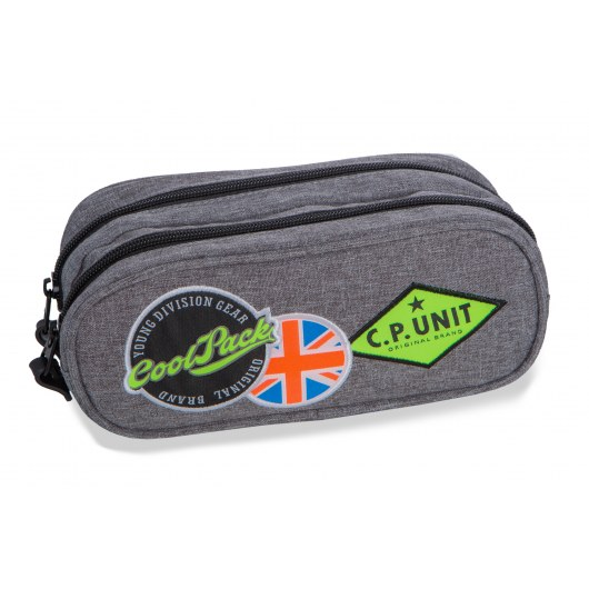 DOUBLE ZIPPERS PENCIL CASE COOLPACK CLEVER BADGES GREY (B65052)