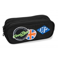 DOUBLE ZIPPERS PENCIL CASE COOLPACK CLEVER BADGES BLACK (B65055)