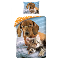 SINGLE DUVET SET 140 X 200 CM ANIMAL CAT AND DOG CD-055BL