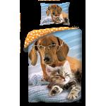 SINGLE DUVET SET 140 X 200 CM ANIMAL CAT AND DOG CD-055BL