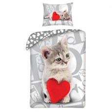 SINGLE DUVET SET 140 X 200 CM HAPPY VELENTINES DAY CAT VAL-16BL