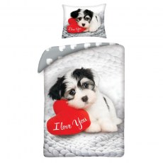 SINGLE DUVET SET 140 X 200 CM HAPPY VELENTINES DAY DOG VAL-04BL