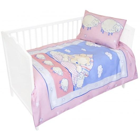 BABY BEDDING SET 100 X 135 CM BEAR WITH SHEEP PINK B2375B