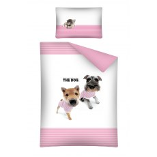 BABY BEDDING SET 100 X 135 CM THE DOG PINK