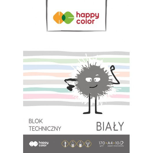 TECHNICAL BLOCK WHITE A4 HAPPY COLOR 170G