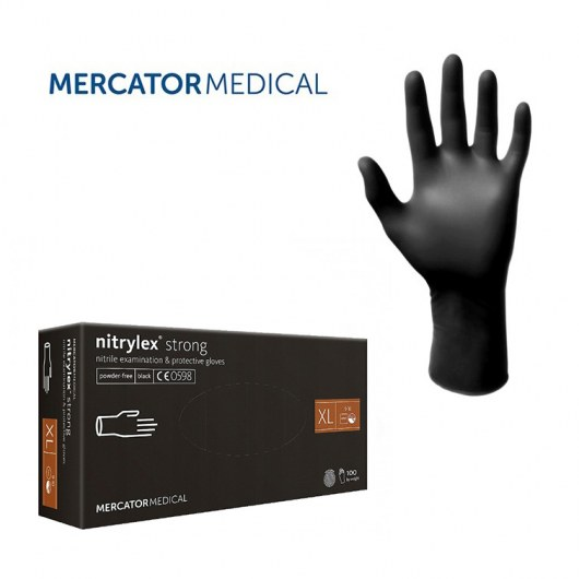 RĘKAWICZKI NITRYLOWE NITRILEX® STRONG BLACK - ROZMIAR L - 100 SZTUK