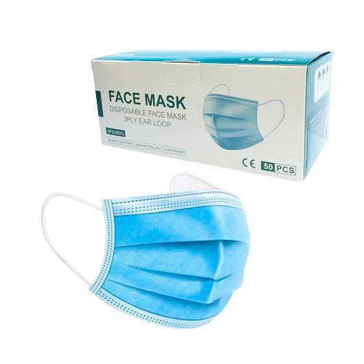 FACE MASK 3PLY EAR LOOP BLUE 50 PCS
