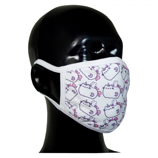 FACE MASK 4PLY EAR LOOP ACTIVE SILVER IONS CAT WHITE UNICORNS