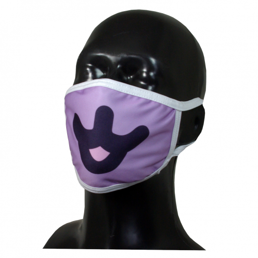 FACE MASK 4PLY EAR LOOP ACTIVE SILVER IONS CAT PURPLE MOUTH