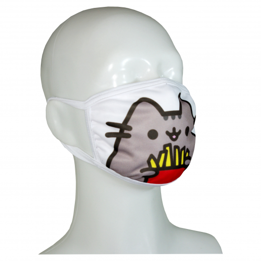 FACE MASK 4PLY EAR LOOP ACTIVE SILVER IONS PUSHEEN CAT WITH FRITES