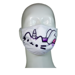 FACE MASK 4PLY EAR LOOP ACTIVE SILVER IONS CAT WHITE UNICORN