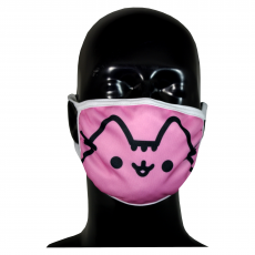 FACE MASK 4PLY EAR LOOP ACTIVE SILVER IONS PINK CAT