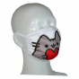 FACE MASK 4PLY EAR LOOP ACTIVE SILVER IONS CAT WITH HEART