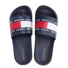 TOMMY HILFIGER FLAG PRINT POOL SLIDE BLUE