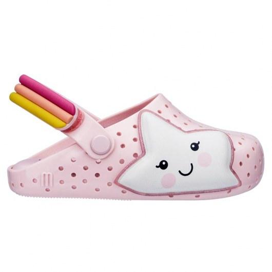 Mini Melissa Buty Dla Dzieci Klapki Furadinha Babouch Pink White