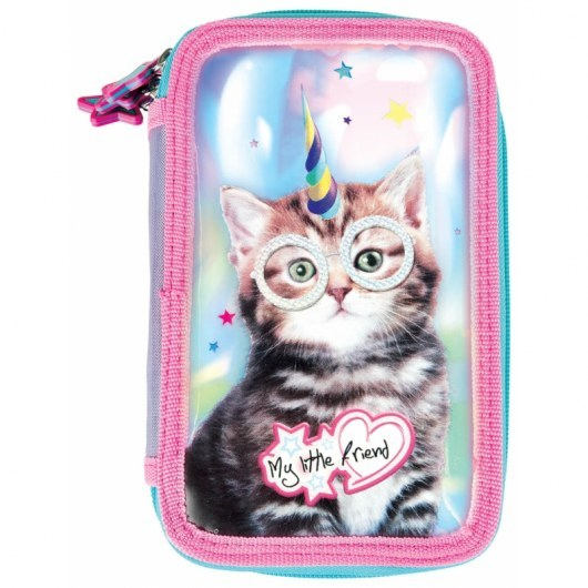 TRIPLE DECKER PENCIL CASE WITH EQUIPMENT MY LITTLE FRIEND CATCORN