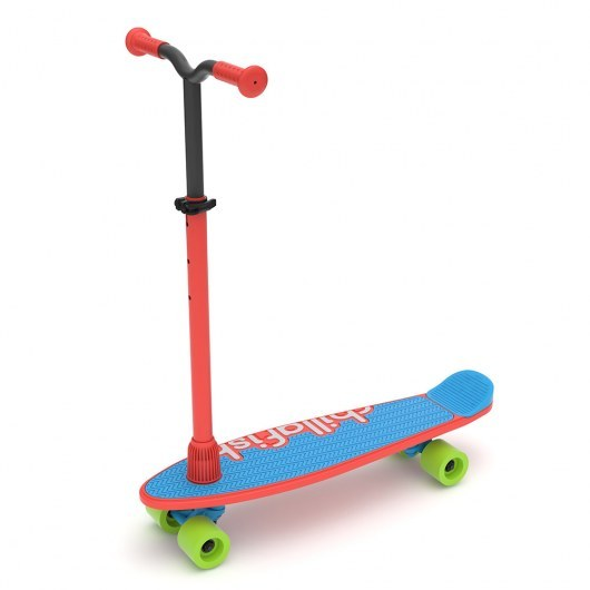 CHILLAFISH SKATIESKOOTIE FOUR-WHEELED CUSTOMISABLE SCOOTER AND SKATEBOARD IN ONE RED MIX