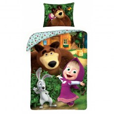 SINGLE DUVET SET 140 X 200 CM MASHA AND THE BEAR MB-2232BL