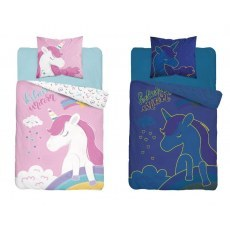 SINGLE DUVET SET 140 X 200 CM FLUO UNICORN