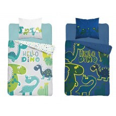 SINGLE DUVET SET 140 X 200 CM FLUO DINO