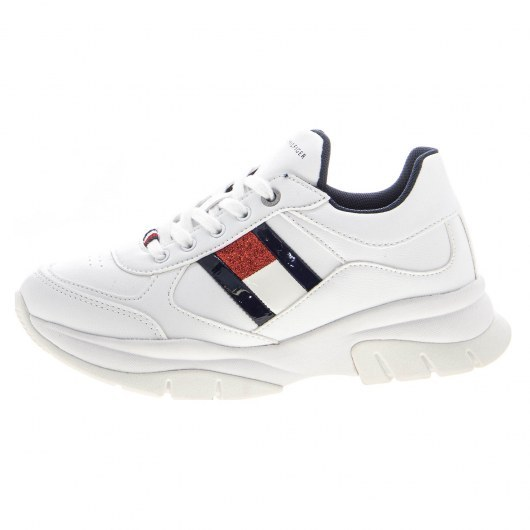 TOMMY HILFIGER LOW CUT LACE-UP SNEAKER WHITE