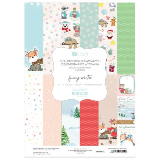 BLOCK OF CREATIVE PAPERS WITH CUTTING ELEMENTS FUNNY WINTER 20 SHEETS