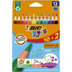 BIC KIDS PENCILS EVOLUTION TRIANGLE ECOLUTIONS 12 COLOURS