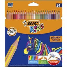 BIC KIDS PENCILS ECO EVOLUTION STRIPES 24 COLOURS