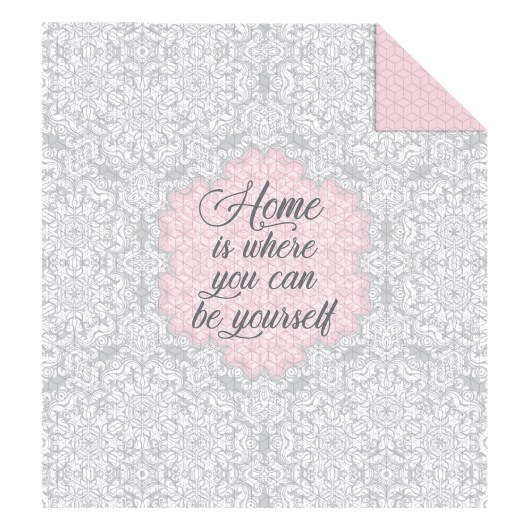 DOUBLE-SIDED QUILTED BEDSPREAD 170 X 210 CM HOME IS WHERE YOU CAN BE YOURSELF