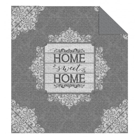 DOUBLE-SIDED QUILTED BEDSPREAD 170 X 210 HOME SWEET HOME