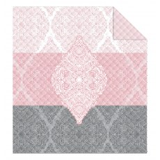DOUBLE-SIDED QUILTED BEDSPREAD 170 X 210 CM PINK AND GRAY MOTIF