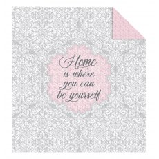 DOUBLE-SIDED QUILTED BEDSPREAD 220 X 240 CM HOME IS WHERE YOU CAN BE YOURSELF