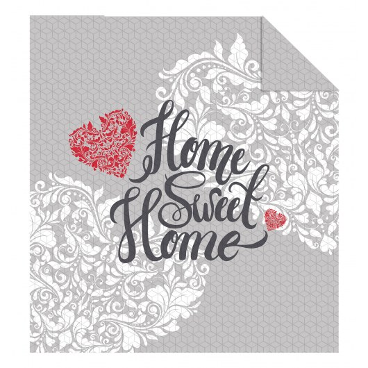 DOUBLE-SIDED QUILTED BEDSPREAD 220 X 240 CM HOME SWEET HOME