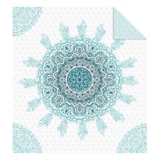 DOUBLE-SIDED QUILTED BEDSPREAD 220 X 240 CM TURQUOISE MOTIF