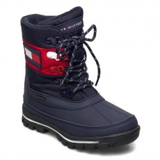 ŚNIEGOWCE TOMMY HILFIGER TECHNICAL BOTTIE BLUE/RED WATERPROOF