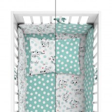 BABY BEDDING SET + BUMPER MAYAMOO 90 X 120 CM KITTENS DOGS 2946AB