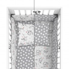 BABY BEDDING SET + BUMPER MAYAMOO 90 X 120 CM KITTENS DOGS 2946CD