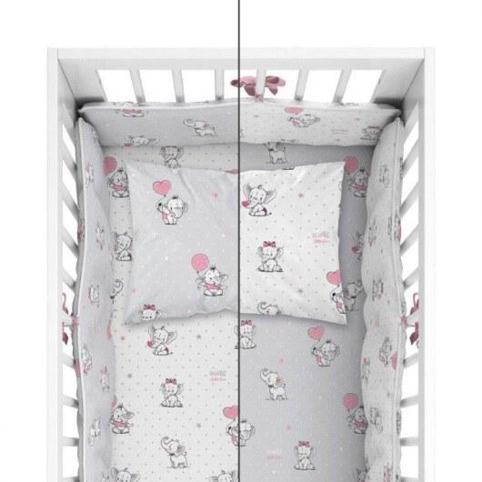 BABY BEDDING SET + BUMPER MAYAMOO 100 X 135 CM ELEPHANT MILUSES 2944AB