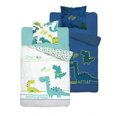 SINGLE DUVET SET 140 X 200 CM FLUO DINOSAUR 2829A