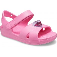 CROCS KIDS CLASSIC CROSS-STRAP CHARM SANDAL 206947 PINK LEMONADE