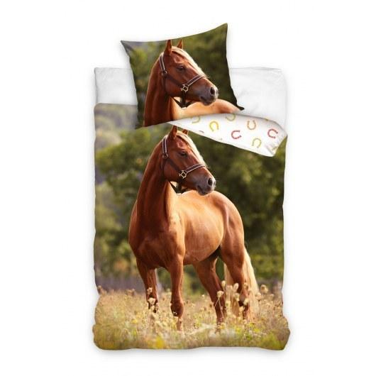 SINGLE DUVET SET 140 X 200 CM ANIMAL HORSE NL213012-PP