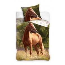SINGLE DUVET SET 160 X 200 CM ANIMAL HORSE NL213012-PP